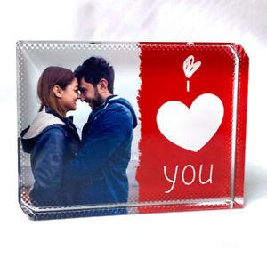 Love Heart Personalised Printed Crystal Block Custom Photo Large Block Gift Idea
