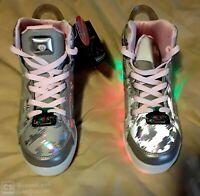 Skechers Girls  S Lights Energy Lights E-Pro Reflecti-Fab High Top Silver Size 6
