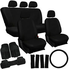 21pc Set Black Faux Leather Car Seat Covers Rubber Floor Mats & Accessories