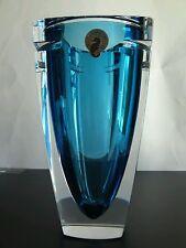 "Waterford Aqua Metra Blue Turquoise 7"" Square Vase Lead Crystal Modern Heavy"