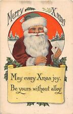C6/ Santa Claus Merry Christmas Holiday Postcard c1910 Green Suit Hat Letter 10