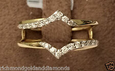 NEW 14k Yellow Gold Two Rows Solitaire Enhancer Diamonds Ring Guard Wrap Insert