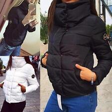 Fashion Winter Women's Down Jacket Coat Hooded High Collar Short Outerwear