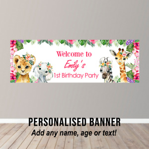Personalised Birthday Banner Party Poster Safari Zoo Jungle Animals Pink Floral