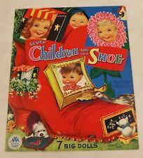 VTG UNCUT Merrill Co Paper Dolls 1958 Seven Children Live In A Shoe 7 BIG Dolls