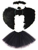 BLACK DARK FALLEN ANGEL WINGS, HALO AND TUTU SET HALLOWEEN COSTUME FANCY DRESS
