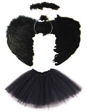 BLACK DARK FALLEN ANGEL WINGS, HALO AND TUTU SET HALLOWEEN COSTUME FANCY DRESS
