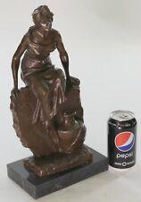 buste de jeune femme en bronze patine brune signé E. Villanis Sculpture Statue S