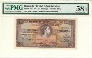 Bermuda 5 Shillings Currency Banknote 1957 PMG 58 EPQ CHOICE AU