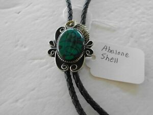 Bolo Tie Abalone Shell Leather Silver Toned 70'S-80'S W-7