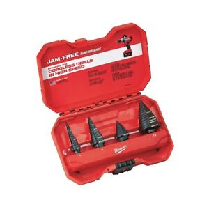 Milwaukee 4-Piece JAM-FREE Step Drill Bits #1, #4, #7, #12 Set MLW48-89-9223