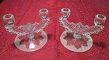 Pair Tiffin Double Candlesticks Feather Wing Design 5904 Frosted Petal Base