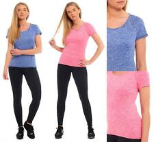 Marks and Spencer Ladies Womens Short Sleeved Gym Sports Top T-Shirt Blue Pink
