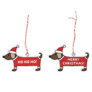 Christmas Dachshund Gift Tags  Set of 12  Festive Present Labels Name Tag X-mas