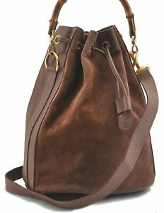 Authentic GUCCI Bamboo 2Way Shoulder Hand Bag Suede Leather Brown B3510