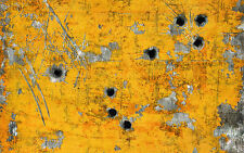 Framed Print - Bullet Holes in a Yellow Wooden Wall (Picture Poster GTA Art)