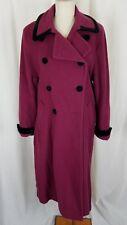 Spiegel Wool Velvet Long Maxi Double Breasted Peacoat Coat Womens 12P Raspberry