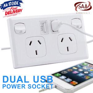 Power Supply Socket SAA Approval Australian Point Dual USB Home Wall Kit