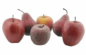 Beaded Sugared Faux Fruit Apples & Pears Lot of 6
