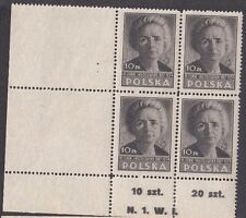 Stamps 1947 Poland 10zt brown Marie Sklodowska plate N1W1 bottom left block of 4