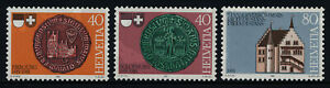 Switzerland 701-3 MNH Seal of Fribourg, Seal of Solothurn, Town Hall