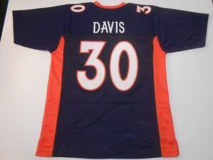 UNSIGNED CUSTOM Sewn Stitched Terrell Davis Blue Jersey - M, L, XL, 2XL
