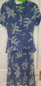 WOMENS SUMMER LIGHTWEIGHT BLUE FLORAL DRESS AND BLOUSE SUIT SET SIZE 10 VGC