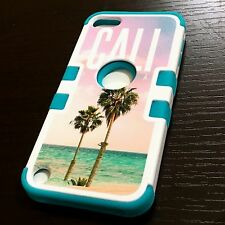 For iPod Touch 5th / 6th Gen - HARD&SOFT RUBBER HYBRID CASE BEACH LIFE PALM TREE