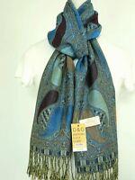 DG Pashmina Scarf Wrap,Paisley Black Turquoise Silk Cashmere