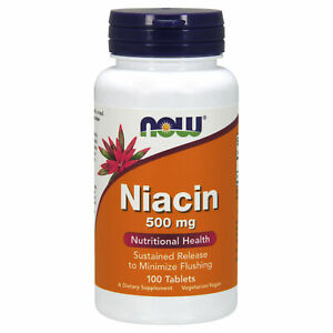 Slow Timed Release Niacin 500mg 100 Tablets Vitamin B3 Energy Cardiovascular