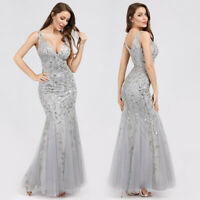 Ever-Pretty US Silver Mermaid Wedding Gown Sequins Celebrity Dresses Long 07886