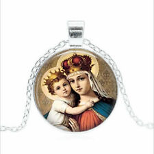 MADONNA and Child Tibet silver Glass dome Necklace chain Pendant Wholesale