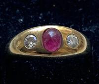 585/ 14 Karat Gelb Gold Bandring 7.9g Rubin Brillanten 0,65 ct Ring Damenring 55