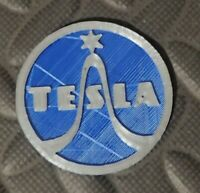 "2"" Tesla Semiconductors USSR badge tube radio microphone vintage antique logo 3D"
