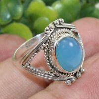 Sale able Blue Chalcedony Gemstone 925 Sterling Silver Ring Jewelry