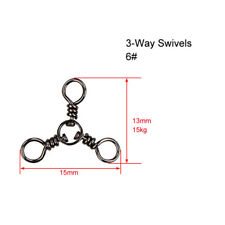 60 X CrossLine (3 Way) Fishing Swivel in Size 6#,Fishing Tackle  Special Offer
