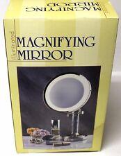 "Magnifying Mirror Illuminated 8"" Dia x 15"" High Triple Magnification Make-Up 977"