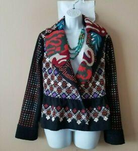 SUNDANCE Size M Black Embroidered Boiled Wool Jacket  295.00
