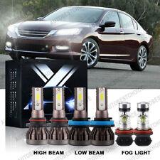 6X Combo Led Headlight High Low + Fog Lights Kit for Honda Accord 2013 2014 2015