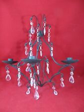 "Wrought Iron Wall Candle Holder Black Stunning- Hanging Crystals 16"" Long"