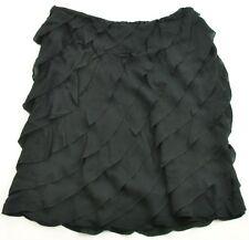 Ralph Lauren Skirt Midi Ruffled Black Label 100% Silk Black USA 8 UK 12 Womens