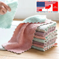 10 Kitchen Towels Soft Microfiber Cleaning Cloths Non-stick Oil Dish Cloth Rags
