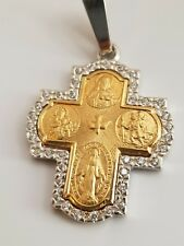 Silver Yellow Cross With Cz