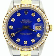 Mens Rolex Steel & Yellow Gold Datejust w/Submariner Blue Diamond Dial 1ct Bezel