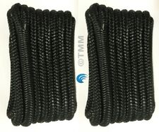 "(2) Black Double Braided 1/2"" x 20' ft Boat Marine HQ Dock Lines Mooring Ropes"