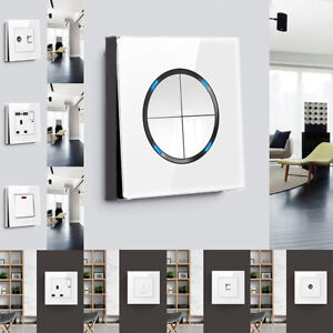 Modern Light Switches & Sockets Outlet USB Ports Tempered Glass Panel Decor