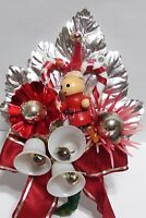 Vintage Christmas Corsage CANDY CANE Mercury Glass Bead Silver Leaf package tie