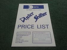 1985 1986 DACIA DUSTER 4x4 + SHIFTER PICKUP UK PRICE LIST BROCHURE Renault 12