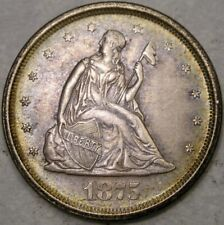 1875 S LIBERTY SEATED SILVER TWENTY-CENT SCARCE APPEALING TONING SHARP FEATHERS