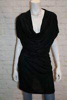 mesop Brand Women's Black Cowl Neck Short Sleeve Dress Size 1 #AN02